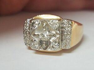 Mens Platinum Diamond 14k Yellow Gold Ring
