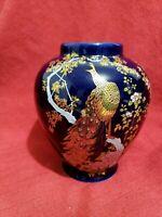 """Vtg Cobalt Blue Vase with Gold peacocks Japanese Style 6 """"H"""
