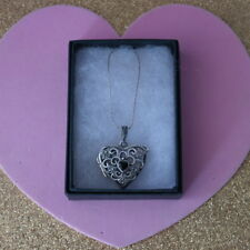 Beautiful 925 Silver Heart Locket With Marcasite&Onyx 10 Gr.3.5 x 2.5 Cm.Wide