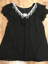 Evans Black Chiffon Ruffle Top With White Chain Crochet Embroidery UK24 NWT A4