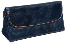 4th Generation Navy Blue Italian Leather Combination Pipe & Tobacco Pouch 7954