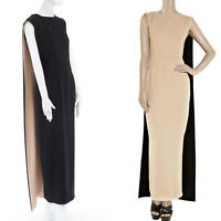 ALESSANDRA RICH black crepe nude lined cape back sleeveless gown dress IT40 S