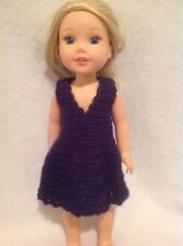 """Wellie Wishers navy Blue Crocheted Doll Dress American Girl 14"""" Clothes Outfit"""