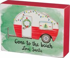 "GONE TO BEACH, LOVE SANTA Camper Wooden Sign, 6"" x 4.5"" Primitives by Kathy"