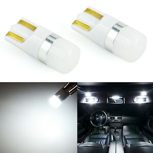 2x White T10 T15 LED Interior Map Dome Marker License Trunk Light Bulbs 3030 SMD