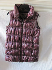 Eileen Fisher Puffer Down Vest-Techno Satin-Deep Ruby- Size PS - NWT $398