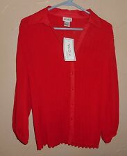 NICOLA Sz L Shirt Top Blouse RED Crinkled 3/4 Sleeve Button Front Career  NWT