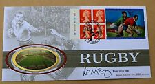 RUGBY WORLD CUP COMMEMORATIVE LABEL 1999 BENHAM FDC SIGNED BY ROGER UTTLEY
