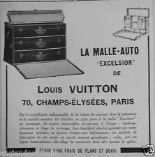 PUBLICITÉ 1922 LOUIS VUITTON LA MALLES AUTO EXCELSIOR - ADVERTISING