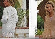 """1032 Ladies Crochet Jacket Onesize 34-40"""" DK/ 4ply Yarn Vintage Crochet Pattern"""