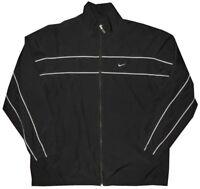 Nike Men's Black w Gray Piping Rainproof Workout Gym Running Track Jacket XL