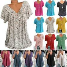 Women V Neck Short Sleeve T-Shirt Summer Loose Casual Top Shirt Blouse Plus Size