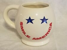"""""""Smile America"""" Patriotic Smiley Face Coffee Cup Mug"""