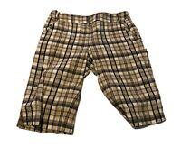 Rafaella Comfort Women's Beige Khaki Plaid Bermuda Stretchy Shorts - Size 4