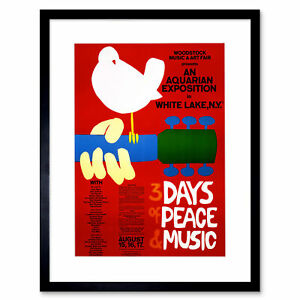 Music Festival Concert Woodstock Ny Peace Dove Love Legend Art Print 12x16 Inch