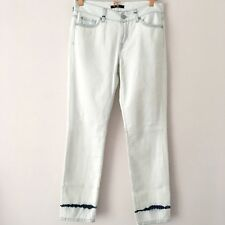 7 For All Mankind Roxanne Mid Rise Crop Surfer's Point White Jeans 27 UK 8 10