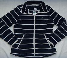 New Women's Nautica Full-Zip Navy/White Striped Lightweight Fleece Jacket Size L