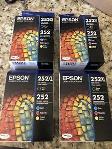 FOUR ..4-PACK Epson GENUINE 252XL Black & 252 Color Ink Expires 2023-2024