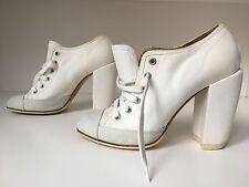 Dries Van Noten White Canvas Sneaker Bootie Pumps SZ 39 (8.5-9)