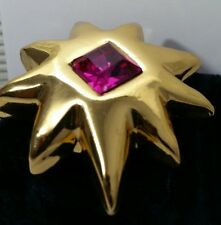 Vintage Haute Couture Christian Lacroix Signed Star Gripoix Glass Pin Brooch