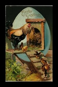 DR JIM STAMPS US EASTER GREETINGS CHICKENS EMBOSSED TOPICAL POSTCARD