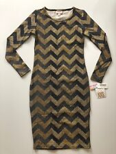 2XS XXS Lularoe Elegant Debbie Black Gold Metallic Gorgeous