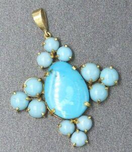 Turquoise Womens Vintage Handmade Pendant 9ct Yellow Gold Cross Fine Jewelry