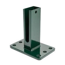 Dübelplatte 15 x 10cm Zaunpfosten Doppelstabmattenzaun Pfostenschuh grün 6005
