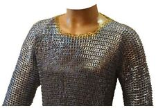 Chain Mail Shirt Flat Riveted Solid Ring Hauberk Brass Riveted Galvanized Medium
