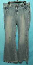 American Eagle Women's Jeans Light Wash Distressed Hipster Fit Flare Size 12 Reg