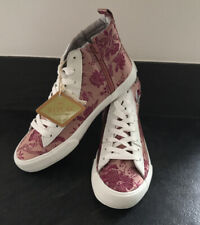 Replay Oriental Box Limited Pink Hi Top Trainers/boots Size 5 Satin/silk Look