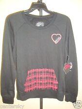 New Metal Mulisha Jrs Grunge Love Fleece Crew Pull Over Sweatshirt Black L