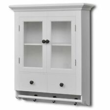 White Wooden Kitchen Wall Cabinet with Glass Door Storage Organizer Pantry