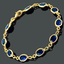 Brass Cubic Zircon 18K Yellow Gold Plated Blue Sapphire Oval Cut Tennis Bracelet