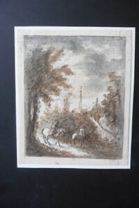 DUTCH SCHOOL 17thC - LANDSCAPE WITH TRAVELERS CIRCLE WATERLOO - INK DRAWING