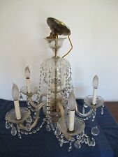 VINTAGE CRYSTAL CHANDELIER 5 ARM/LIGHT WATERFALL SWAG PRISMS WOW