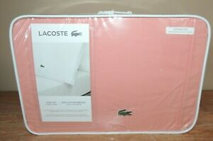 NEW LACOSTE ALLIGATOR FULL DOUBLE 100% COTTON PERCALE SOLID SHEET SET PINK $84