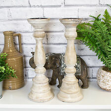 2 x 36cm Wooden Candle Sticks Holders Vintage Pillar Church Rustic Home Decor