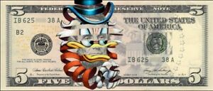 """""""Scrooge McDuck"""" By Super A Art Print One Dollar Bill Signed XX/50 Think Space"""