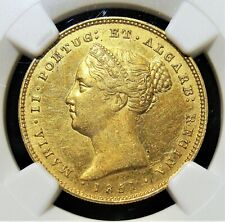 Portugal: Maria II gold 5000 Reis 1851 UNC Details (Obverse Cleaned) NGC