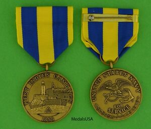 West Indies Campaign Medal Navy – 1898 Spanish American War Cuba - USM310