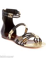 BCBG MAX AZRIA Royale Black Gold Leather Gladiator Sandals $250 NEW 7 M BCBG NIB