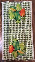 Vintage Parisian Prints Linen Kitchen Tea Towel Vegetables Green Houndstooth