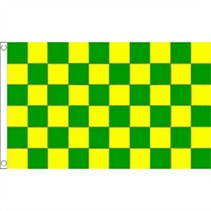 GREEN and YELLOW CHECKERED FLAG 5' x 3' Donegal Kerry Leitrim Meath GAA Football