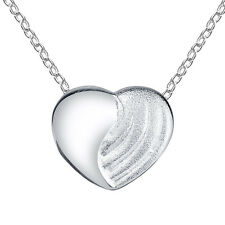 Sterling Silver Multi Finish Heart Pendant Necklace, with Brushed Satin Polished