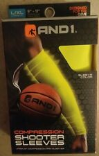 "AND1 Mens Basketball Compression Shooter Sleeves(1 pair)Neon Green. L/XL 9""-11"""