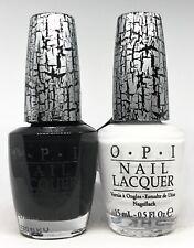 OPI Crackle Nail Polish ✨BLACK E53 & WHITE SHATTER E54 Lacquer Create 2 Tone👣