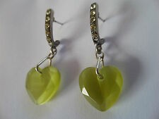 MARTINE WESTER GREEN HEART DROP DANGLE DIAMANTE BAR EARRINGS 4 CM new gift bag