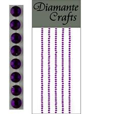 220 x 2mm Purple Diamante Self Adhesive Strips Rows Rhinestone Craft Gems