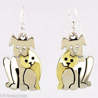 Far Fetched CATS Best Friend EARRINGS Silver & Brass Dog Mima Oly + Wrapped Box